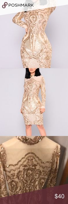 Gold sequin dress Size small gold sequin dress. New with tags attached. Bought for New Years but found something else to wear. Fashion Nova Dresses Midi