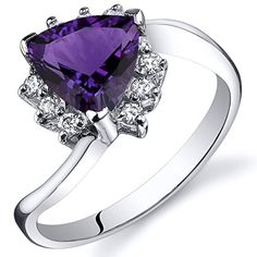 Amethyst Bypass Ring Sterling Silver Rhodium Nickel Finish Trillion Cut Carats Sizes 5 to 9 Blue Sapphire Rings, Blue Topaz Ring, Purple Amethyst, Pink Sapphire, Sapphire Gemstone, Amethyst Stone, Alexandrite Ring, Cubic Zirconia Rings, Violet