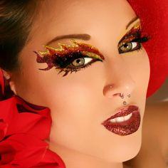 Blaze Glitter Eyes False Eyelashes Eye Paint Eye Art - Could use this in blue/teal/gold for Faith's Halloween costume! Ideas Maquillaje Carnaval, Maquillaje Halloween, Halloween Makeup, Halloween Ideas, Devil Halloween, Halloween Costumes, Exotic Eye Makeup, Fire Costume, Devil Costume