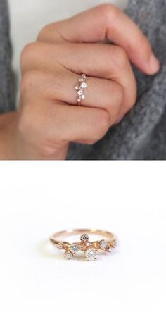 "b6ee4fcd7f nandanewyork: ""R057 14K Rose Gold with 0.3ct (total) Budding Diamond Ring"