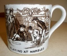 """Mid century inch child's mug """"Blind Man's Buff"""" Lots of common children's games appear on transferware plates and mugs: for . Childrens Cup, Baby Dishes, Neuschwanstein Castle, Royal Doulton, Kids Playing, 19th Century, Childhood, Ceramics, Mugs"""