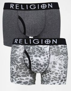 Trunks by Religion Stretch cotton Stretch waistband Signature branding Plain and printed styles Form fitting design Machine wash 95% Cotton, 5% Elastane Pack of two
