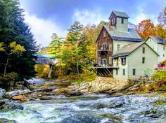 Kingsley Grist Mill, Covered Bridge and Waterfall. - Castles for Rent in Clarendon, Vermont, United States Stay In A Treehouse, Bridge Builder, Wooden Gazebo, Pasadena California, Lake Champlain, New River, Covered Bridges, Vermont, New England