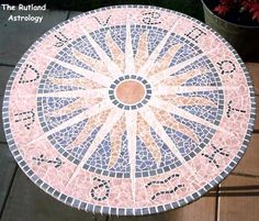 Mosaic patio table made from broken floor tiles on aqua board (like a concrete plaster board from Wickes), No Nails glue & grout.