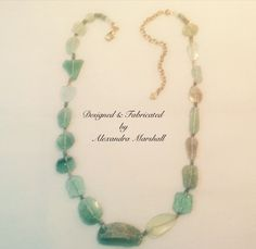 """Dated back to 100 BC, this ancient Roman Aqua Glass necklace by Alexandra Marshall is a """"must have"""" for discriminating collectors. One of its kind and 19"""" - 21"""" long. #N2223 $319. Double click photo to order."""