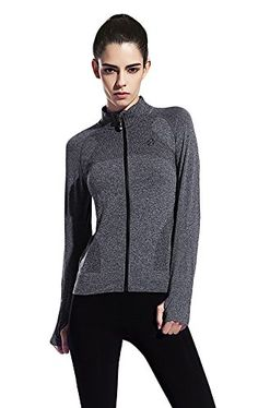 Womens Active Full Zip Jacket with Thumb Holes  gray s *** More info could be found at the image url.Note:It is affiliate link to Amazon. #BottlesforWatersport