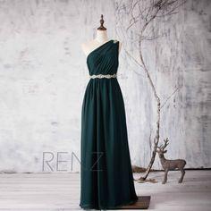 2015 Dark Green Bridesmaid dress, One Shoulder Illusion Wedding dress, Beading Sash Prom dress Backless, Formal dress floor length (H158)