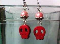 Halloween Skull Earrings Red Skull Earrings I by TimelessAvenue, €11.50