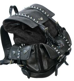 Amazon.com: Faux Leather Fabric Spike Studded Backpack Black or ...