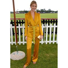 Martha Hunt wearing Peter Pilotto Fall 2018 Satin Trousers, Peter Pilotto Satin Blazer and Alumnae Step-Down Thong Slide Collars For Women, Belts For Women, Clothes For Women, Yellow Suit, Yellow Pants, Star Fashion, Daily Fashion, Ol Fashion, Woman Fashion