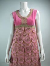 1970s Pink Lame & Velvet Evening Gown With Gold Metallic Lace Trim from Marzilli Vintage at rubylane.com