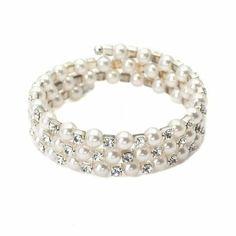 3 Row Pearl and CZ Stretch Bracelet - Half off! Get it for $9.98! #bracelet #halfoffsale #jewelry