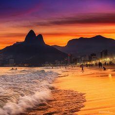 "Leblon Beach, Rio de Janeiro, Brazil — by Pixamundo. ""A Day in the Life in Rio"" Another magical sunset in the magical city of Rio de Janeiro."