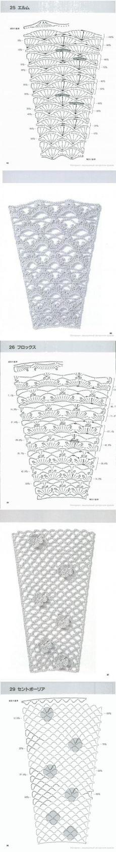 Tejer.  Los planes para la expansión de los patrones de la tela (gancho)
