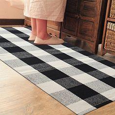 PRAGOO Cotton Rug Hand-woven Checkered Carpet Braided Kit...
