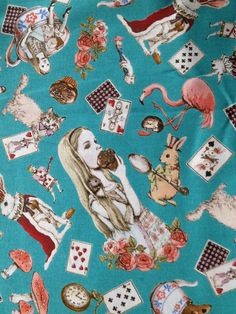 Hey, I found this really awesome Etsy listing at https://www.etsy.com/listing/193187909/1-yard-alice-in-wonderland-fabric
