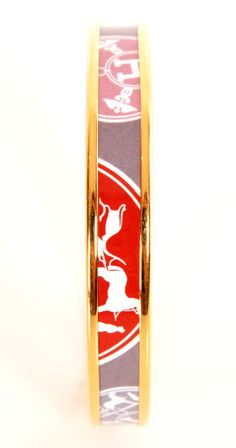 """Hermes gold printed enamel bracelet- gray, pink, blue, and red """"H"""" print with horses."""