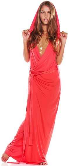 """Alexis """"Miley"""" Maxi Dress - the hood up makes this look very casual, I think down it would look quite elegant"""