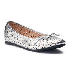 SO® Lynn Girls' Ballet Flats, Size: 12, Silver