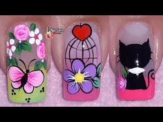 Flower Nail Designs, Flower Nails, Manicure And Pedicure, Lily, Nail Art, Margarita, Amanda, Flowers, Natural