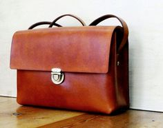 Handmade brown Leather bag - Country Vintage / Retro Style with Shoulder Strap - Hand Stitched and Hand Colored