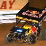 World of Outlaws sprint car racing. Joey Saldana in the Red Bull #9 car