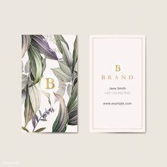 A business card that is elegant and luxurious with tropical leaves floral patterns and golden details. Id Card Design, Web Design, Page Design, Cover Design, Stationery Design, Branding Design, Identity Branding, Visual Identity, Personal Identity