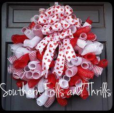 Valentine Deco Mesh Wreath Valentine's Day by SouthernThrills, $52.00