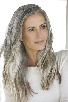 Color This makes me want to let my grey hair grow in and color the rest a darker grey! Love this hair and color! Sam GoldThis makes me want to let my grey hair grow in and color the rest a darker grey! Love this hair and color! Long Gray Hair, Silver Grey Hair, Gray Hair Women, Pelo Color Plata, Silver Haired Beauties, Grey Hair Inspiration, Pelo Natural, Natural Hair, Corte Y Color