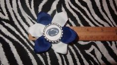 Sporty Bottlecap Flower NCAA Penn State Nittany Lions Hair Bow ~ Free Shipping Price: $4.00