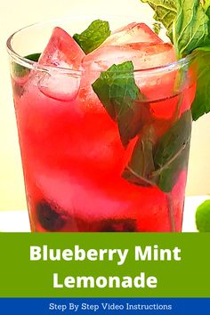 Simple and easy to make non-alcoholic blueberry mint lemonade, with step by step video instructions. Great drink recipe for spring and summer! Want an alcoholic version? It is as easy as adding your favorite vodka or rum! Ingredients – Blueberry syrup – Juice of 5-6 Lemons – Fresh mint leaves – Sugar – Water   Blueberry Lemonade Recipes, Blueberry Syrup, Apple Sangria, Peach Sangria, Cocktail Recipes For A Crowd, Food For A Crowd, Mint Lemonade, Fresh Mint Leaves