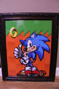 Framed Sonic The Hedgehog perler beads by Tony009