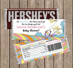 Oh, Baby, The places you'll go Dr Seuss Baby Shower Printable Hershey 1.55oz Candy Bar Wrapper, Candy Bar Wrapper, Customo Colors