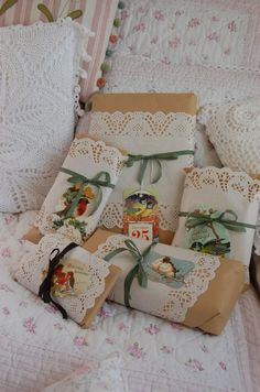 Brown paper and doilies - a very cute way to wrap simply