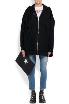 Givenchy - Oversized Printed Neoprene Hooded Top - Black - FR36