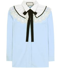 GUCCI Lace-Embellished Cotton Blouse. #gucci #cloth #tops