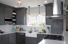 Blue gray kitchen cabinets red kitchen walls kitchen paint colors with cream cabinets blue grey kitchen . Dark Grey Kitchen Cabinets, Gray And White Kitchen, Kitchen Cabinet Colors, Grey Kitchens, Painting Kitchen Cabinets, Kitchen Paint, Kitchen Decor, Kitchen Ideas, Kitchen Grey