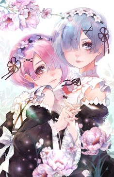 2girls apron black_ribbon blue_eyes blue_hair bow detached_sleeves flower frilled_sleeves frills fuwaffy hair_flower hair_ornament…