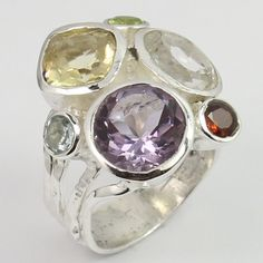 Hot Fashion Ring Size US 6.5 Real AMETHYST & Other Gemstones 925 Sterling Silver #Unbranded