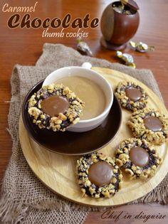Caramel chocolate thumb cookies