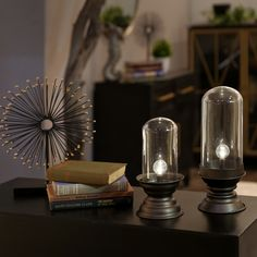 An excellent alternative to candles! This pair of battery operated LED lights are attractive and stylish in any home. Modern Decor, Metal Ornament, Lantern Lights, Decorative Accessories, Decorating Shelves, Battery Operated Led Lights, Accent Decor, Led Lights, Industrial Decor