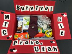 MTC survival kit, full of all the little things my missionary probably forgot about! Go to my blog and it shares what all is inside!