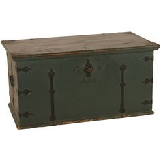 1763 Swedish Wedding Trunk painted weathered green with 1765
