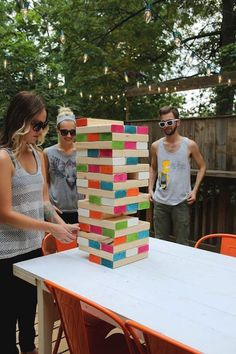Supersize your next game night with this colorful DIY Jenga-inspired game project!