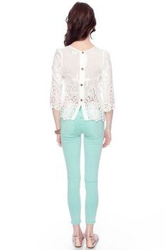 So cute especially with the sweet mint colored denim