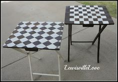 Lewisville Love: T. trays become Chess board & Art piece Backyard Projects, Diy Wood Projects, Tv Tray Makeover, Metal Tv Trays, Painted Furniture, Diy Furniture, Mackenzie Childs Inspired, Resin Table, Chess