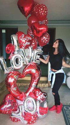 Decoraciones Globos Valentine Bouquet, Valentine Day Wreaths, Valentines Day Decorations, Birthday Party Decorations, 30th Birthday Balloons, Valentines Balloons, Balloon Columns, Balloon Garland, Romantic Valentines Day Ideas