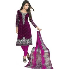 Deals and Offers on Women Clothing - Jevi Prints Synthetic Printed Salwar Suit Dupatta Material at 74% offer