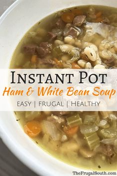 Super easy and frugal Instant Pot ham and white bean soup. Great Northern beans, veggies, and ham come together in the pressure cooker for an easy dinner. Ham And Bean Soup, Ham Soup, White Bean Soup, Ham Salad Recipes, Appetizer Recipes, Soup Recipes, Keto Recipes, Dinner Recipes, Appetizers