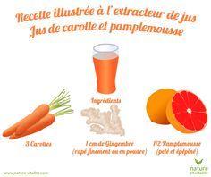Jus de carotte et pamplemousse à l'extracteur de jus. Ingrédients : 3 Carottes, 1/2 Pamplemousse et 1 cm de gingembre coupé finement ou en poudre.